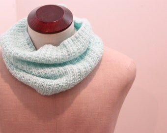 Hand Knitted Cozy Light Blue Cowl