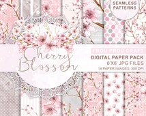 Cherry Blossom Digital Paper Pack Seamless Patterns Instant Download Spring Watercolor Flowers Polka Dots Pink Original Romantic Wedding