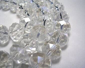 12mm X 8mm Crystal Rondelles 8mm Faceted Clear Glass Light AB Beads Clear Prism Crystal Rondelles Sparkly Crystals 35 Beads Crystal Jewelry