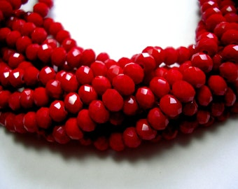 6mm X 4mm Red Beads Dark Red Faceted Glass Rondelles Crystals 80 Beads Sparkling Opaque Red Rondelles Red Jewelry Blood Red 16 inches