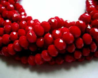 6mm X 8mm Red Beads Dark Red Faceted Glass Rondelles Crystals 70 Beads 1mm Hole Sparkling Opaque Red Rondelles Red Jewelry Red 16 inches
