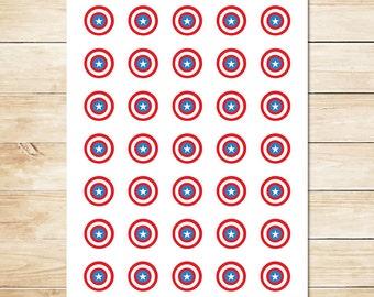 Captain America Sticker // Captain America Inchies // Captain America Party Favors // Captain America Party // Superhero Party 1 Inch