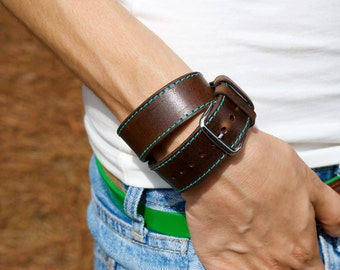 Sale!!! Double Tour Apple Watch Band, Leather Apple Watch Strap, Horween Leather Apple Watch Strap, IWatch Band
