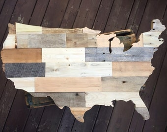 United States of America Pallet Wood Cutout, USA Rustic Sign, America Reclaimed Wood Decor, American Country Wall Hanging Small