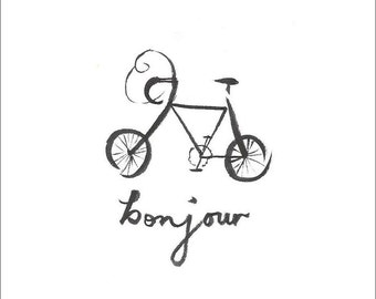 Bonjour Bicyclette Greetings Card