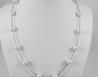 Wedding necklace, vintage necklace, pearl necklace Chain with White Pearls