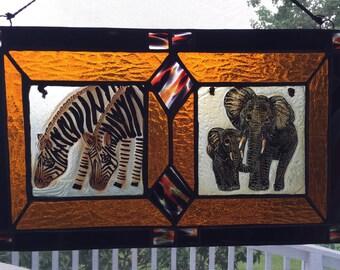 Elephants & Zebras Stained Glass Safari