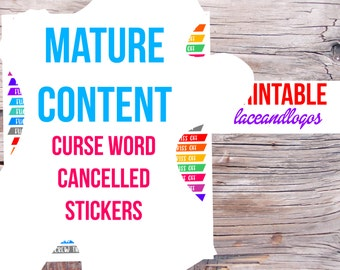 Printable Planner Stickers MATURE CONTENT Curse Word Swear Word Cancelled Stickers F This   Happy Planner Rainbow BrightPlanner