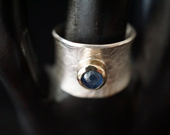 Unique Modern Bluer than Blue Sapphire Band Ring 14K Gold 925 Silver