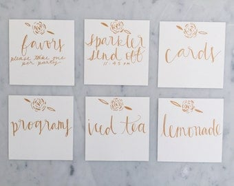 Custom Square 12cm x 12cm Hand Drawn Rose Gold Lettering Sign / GARDEN LOVE/ Event Signs / Calligraphy / Party Wedding Birthday Hens /
