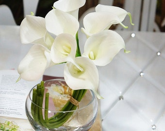 2 Bouquets Of White Lily Bouquet Real Touch Callas Lilies For Bridal Bridesmaids Fake Floral Wedding