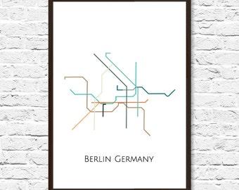 Berlin Metro Map, Transit Map, Subway Map, Subway Poster Art, Berlin Art, Berlin Poster, Berlin Print