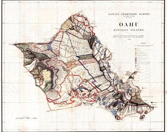 Oahu Map, Hawaii Map, Oahu Print, Oahu, Hawaiian Decor, Hawaii