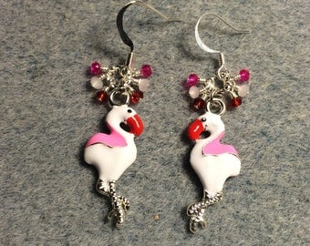 Pink, white and red enamel flamingo charm dangle earrings adorned with tiny dangling pink, white and red Chinese crystal beads.