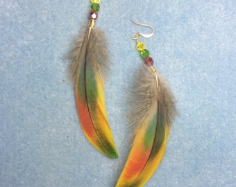 Red, green and yellow scarlet macaw feather earrings adorned with red, green and yellow Czech glass beads.