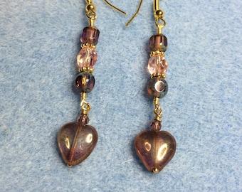 Pinkish gold Czech glass heart dangle earrings adorned with pinkish gold Czech glass beads.