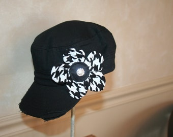 Houndstooth flower pin clip.  Hat or hair accessory