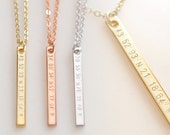 Custom Hand stamped Vertical Coordinates Necklace, girlfriend personalized, Personalized Birthday gift