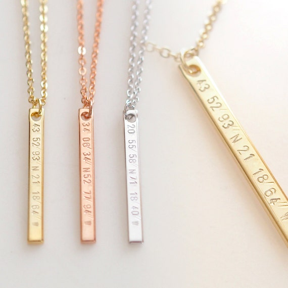 Vertical Coordinate Necklace