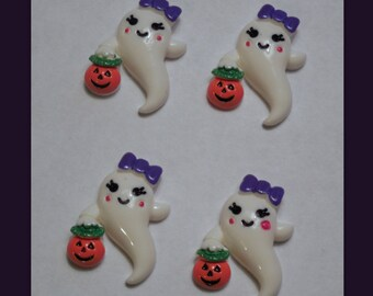Ghost with pumpkin set of 4