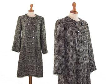 Plaid Coat, Womens Coat, Peacoat, Prince of Galles Coat, Medium Coat, Wool Coat, Womens Clothing, Vintage Clothing, 1960s Coat, 60s Coat