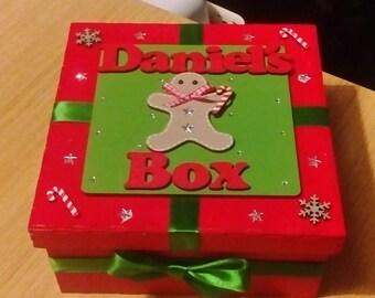 Personalised Christmas eve box MDF Lift off lid medium