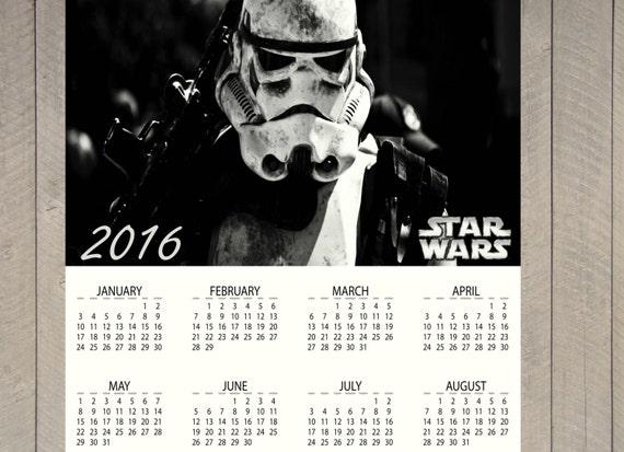 Items similar to STAR WARS Calendar. Annual 2016. Printable on Etsy