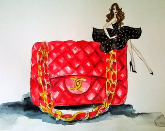 ORIGINAL fashion illustration-Chanel Bag