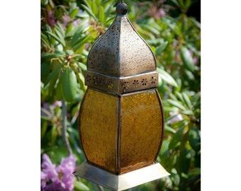 Antique Brass Amber Sunset Marrakech lantern