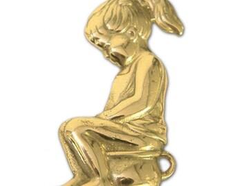 Little Girl on Potty Brass Sign