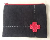 Unique zipper pouch with hand felted patch and embroidery, small clutch, small zippered bag