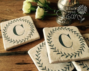 "4 Piece Classic Monogram Coaster Set of Natural Stone | 4"" x 4"" w/ Felt Bottoms"
