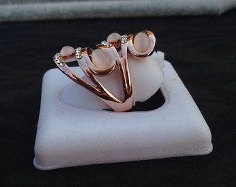 Rose Quartz ring and hand-made microsvarowsky