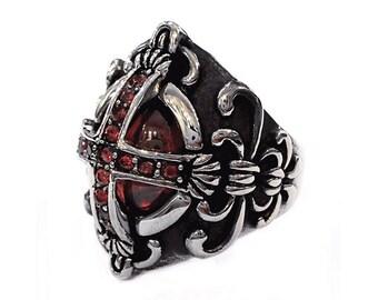 Templar cross ring with svarovsky