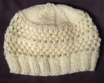 Yellow Lace Baby Hat