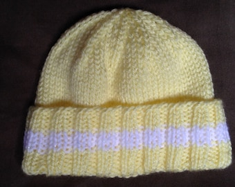 Yellow and White Baby Hat