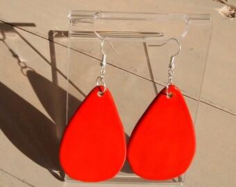 CERAMIC EARRINGS-red drop