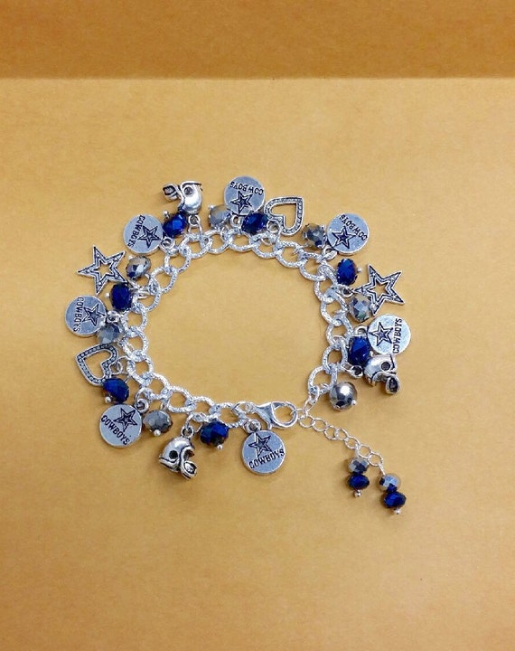 dallas cowboys charm bracelet dallas cowboys chunky charm bracelet by toshiesjewelry on etsy 3577