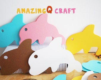 Cute Dolphin Paper Tags - Cardstock Paper Tags - Hang Tags - Set of 50