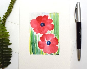 Handpainted Greeting Cards, Watercolor Abstract Flowers, Number Code 21