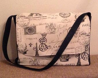 Handmade Messenger Bag Large, Beige and Denim Travel/Eiffel Tower