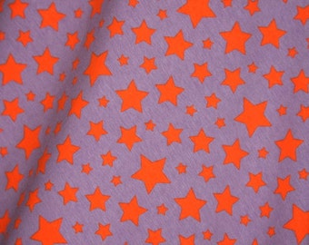Knit Stars Violet with Orange Fabric 1/2 yard