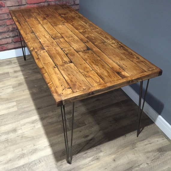Reclaimed Industrial Pallet Wood Dining Table With Metal Hairpin Legs