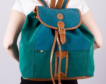 Vintage Backpack - Backpack - green - 80s backpack - large rucksack - bag - bag - backpack for women - hipster