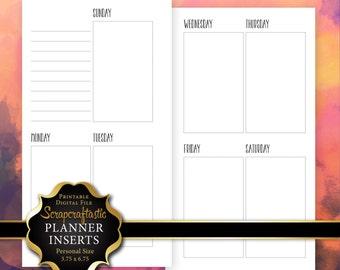 Planner Printable Insert Refill Sunday Start Undated WO2P Personal Size - Filofax Kikki K Erin Condren Size Oversized Full Boxes (00212)