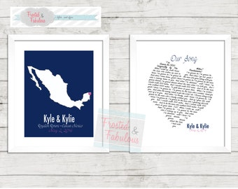Wedding map and Wedding Song Keepsake