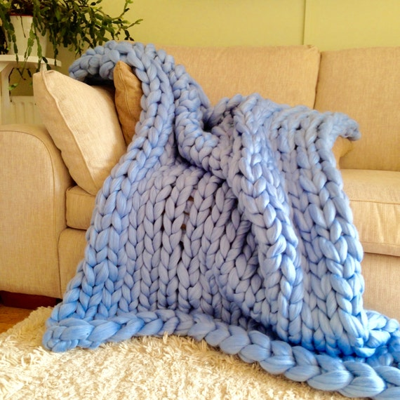 Giant Knit Blanket Pattern : Knitted Chunky Blanket. Giant Knit Throw. by WoolCoutureCompany