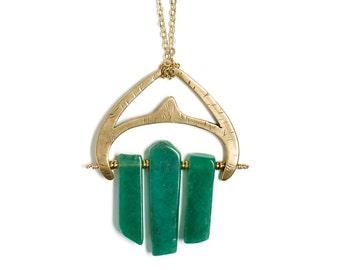Brass Statement Necklace Green Aventurine Beads Brass Pendant Necklace Long Chain Brass Beaded Necklace Gold Pendant Stone Jewelry