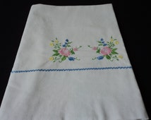 French Vintage linen babies embroidered sheet (02637)