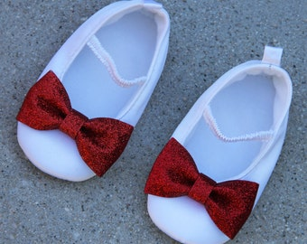 Valentine's Day Shoes Satin White Shoes With Red Sparkle Bow Ballet Flat Crib Shoes Flower Girl Shoes